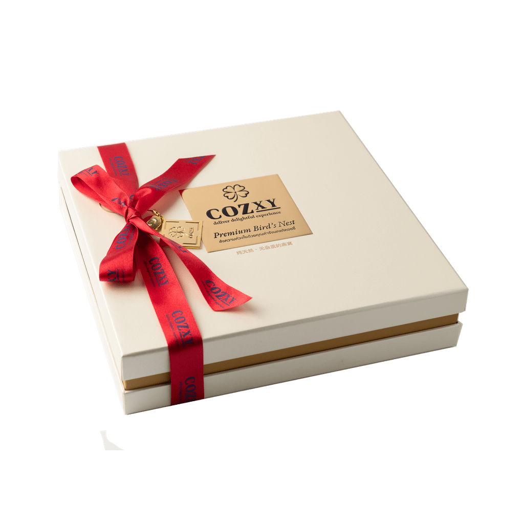 คอซซี่ กล่องของขวัญรังนกแท้พรีเมี่ยม สูตร Original สูตรหวานน้อย ขนาด 12 ขวด สีขาวมุก ให้แทนกระเช้าสุขภาพ