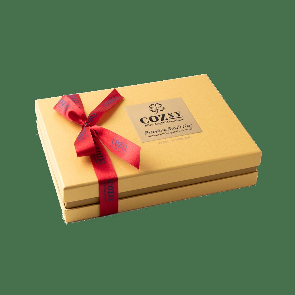 คอซซี่ กล่องของขวัญรังนกแท้พรีเมี่ยม สูตร Original หวานน้อย ขนาด 8 ขวด สีทอง ให้แทนกระเช้าสุขภาพ