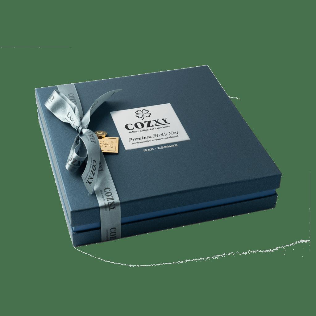 คอซซี่ กล่องของขวัญรังนกแท้พรีเมี่ยม สูตร Original หวานน้อย ขนาด 12 ขวด สีน้ำเงิน ให้แทนกระเช้าสุขภาพ