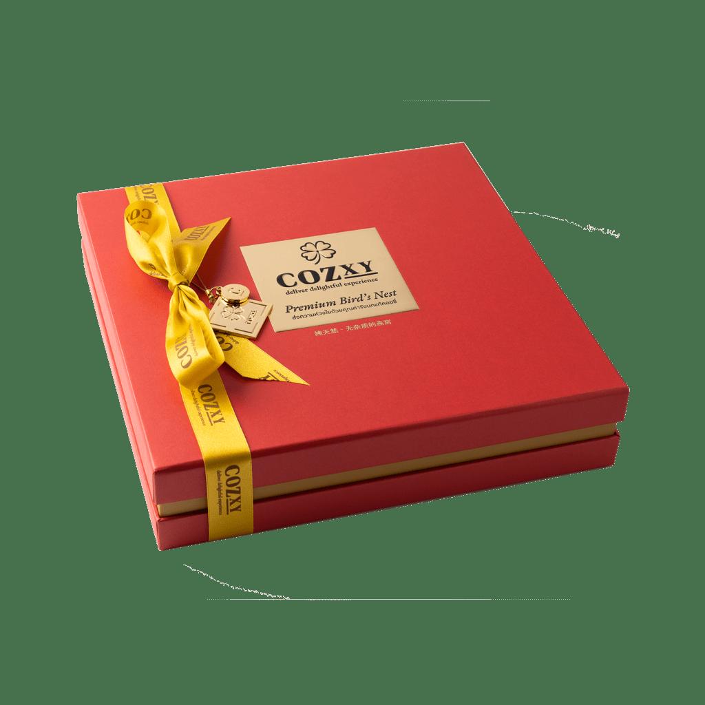 คอซซี่ กล่องของขวัญรังนกแท้พรีเมี่ยม สูตร Original หวานน้อย ขนาด 12 ขวด สีแดง ให้แทนกระเช้าสุขภาพ
