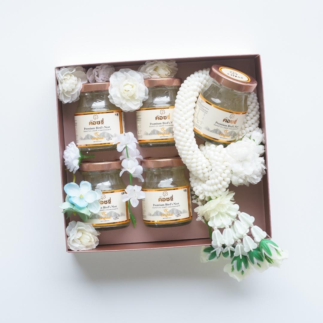 Faux Malai กล่องดอกไม้และพวงมาลัยประดิษฐ์ รังนกพรีเมี่ยม 5 ขวด