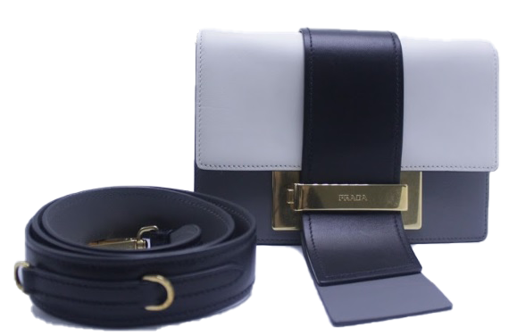 Prada Metal Ribbon Black White Grey
