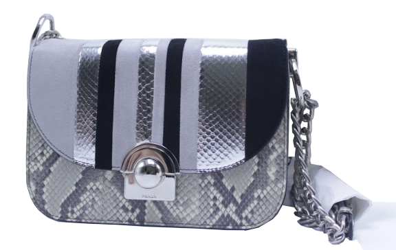 Python silver black white bag